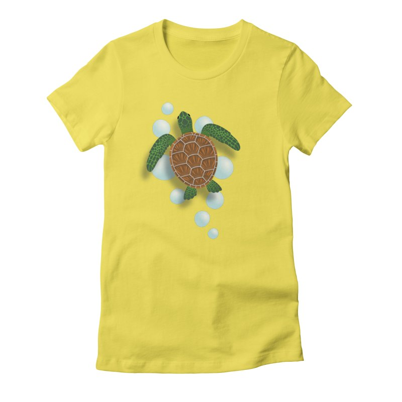 Sea Turtle Women's Fitted T-Shirt by Designs by WoollyRex