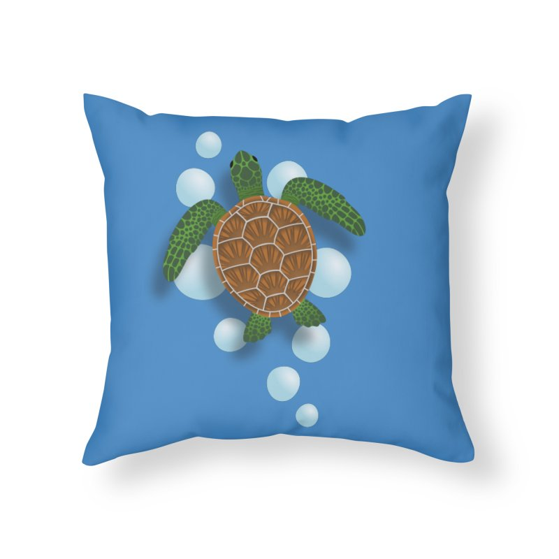 Sea Turtle Home Throw Pillow by Designs by WoollyRex