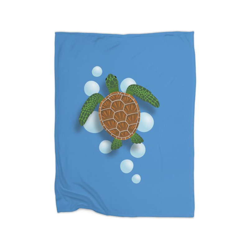 Sea Turtle Home Fleece Blanket Blanket by Designs by WoollyRex