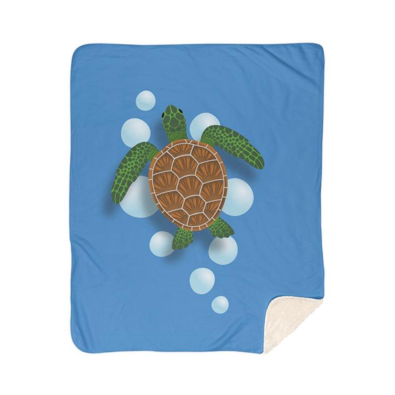 Sea Turtle Home Sherpa Blanket Blanket by Designs by WoollyRex