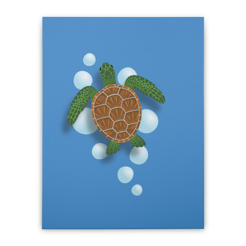 Sea Turtle Home Stretched Canvas by Designs by WoollyRex