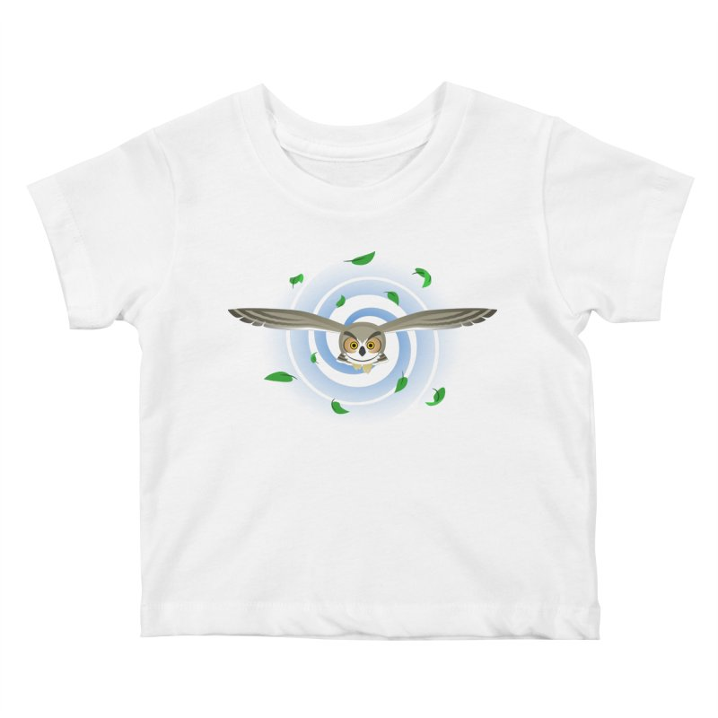 Wind Owl Kids Baby T-Shirt by Designs by WoollyRex