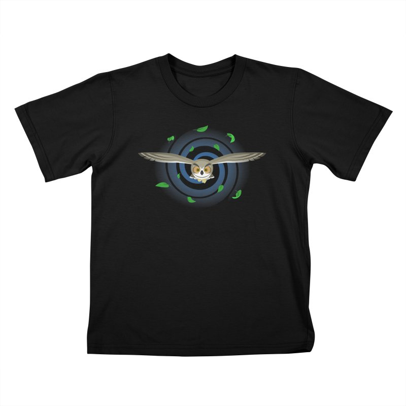 Wind Owl Kids T-Shirt by Designs by WoollyRex