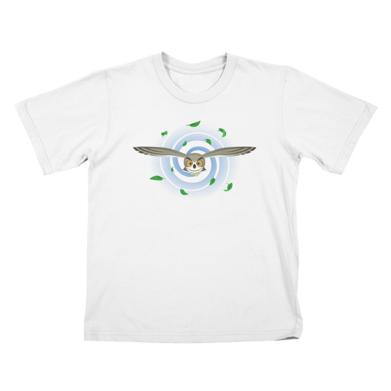 Wind Owl Kids T-Shirt by Designs by WoollyRex