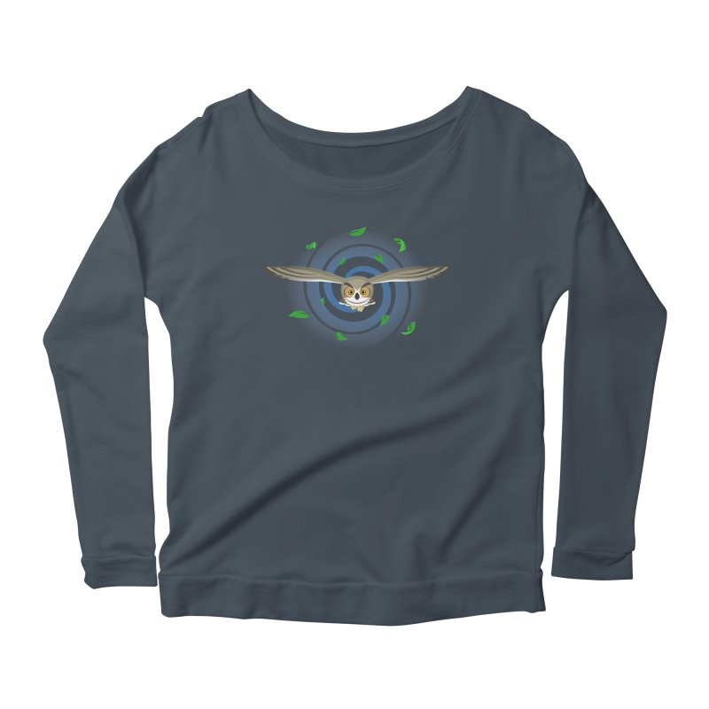 Wind Owl Women's Longsleeve Scoopneck  by Designs by WoollyRex
