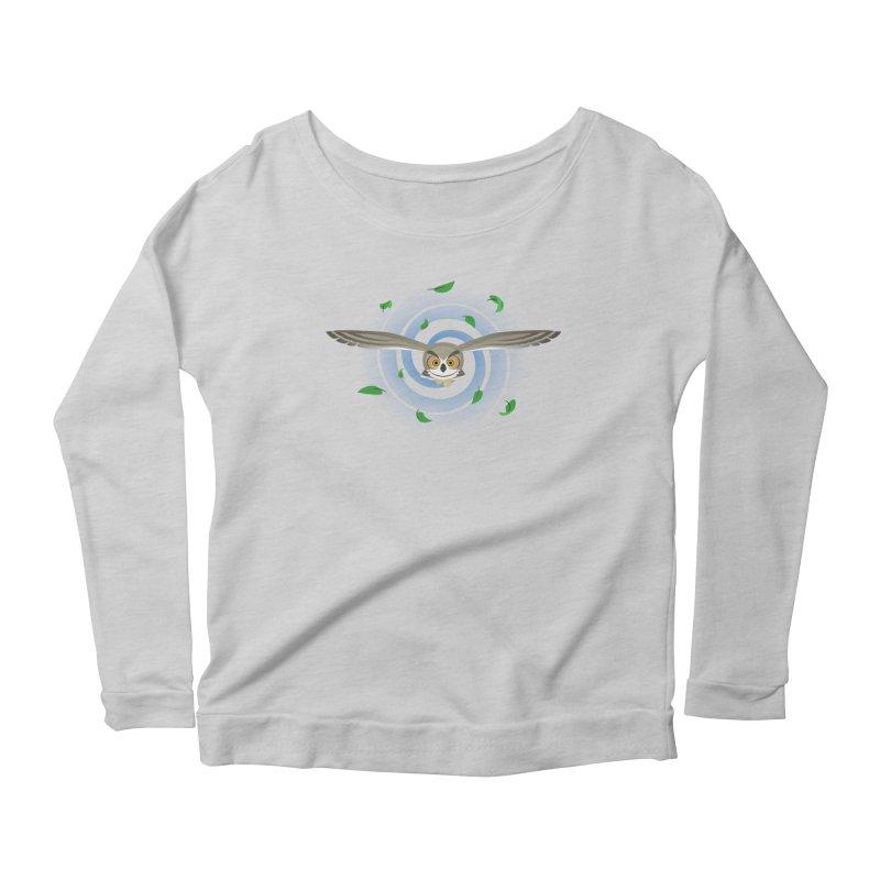 Wind Owl Women's Scoop Neck Longsleeve T-Shirt by Designs by WoollyRex