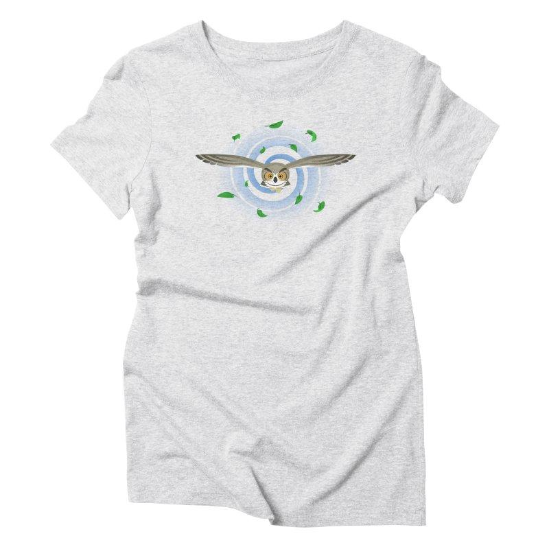 Wind Owl Women's Triblend T-shirt by Designs by WoollyRex