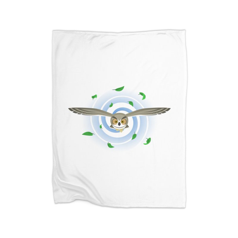 Wind Owl Home Fleece Blanket Blanket by Designs by WoollyRex