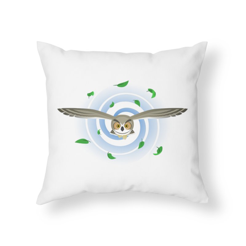 Wind Owl Home Throw Pillow by Designs by WoollyRex