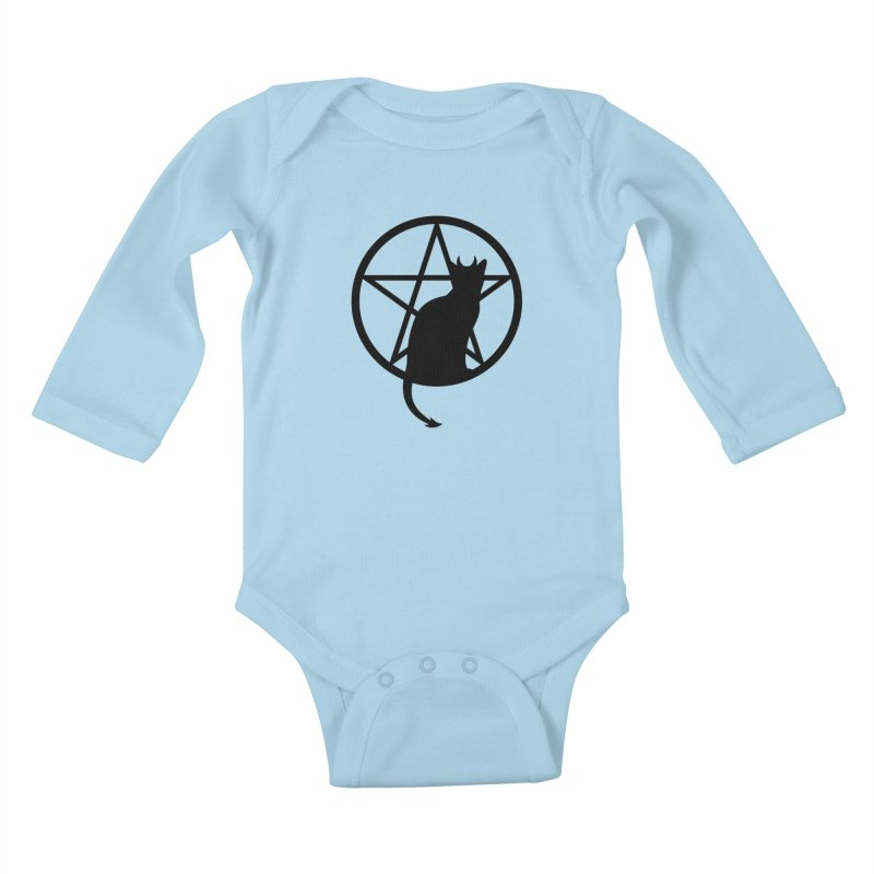 Satan Cat Kids Baby Longsleeve Bodysuit by Designs by WoollyRex
