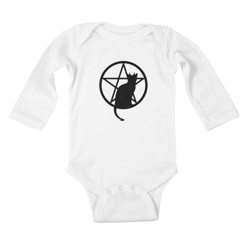 Satan Cat Kids Baby Longsleeve Bodysuit by Designs by WoollyRex