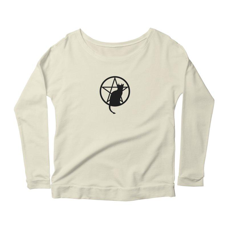 Satan Cat Women's Scoop Neck Longsleeve T-Shirt by Designs by WoollyRex
