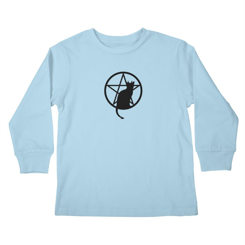 Satan Cat Kids Longsleeve T-Shirt by Designs by WoollyRex