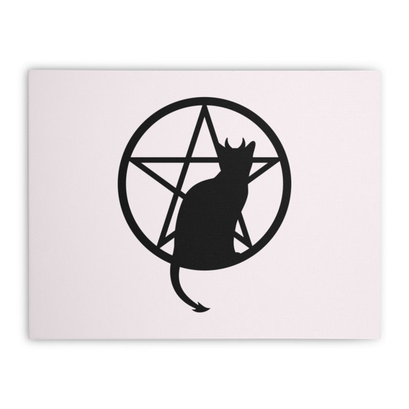 Satan Cat Home Stretched Canvas by Designs by WoollyRex