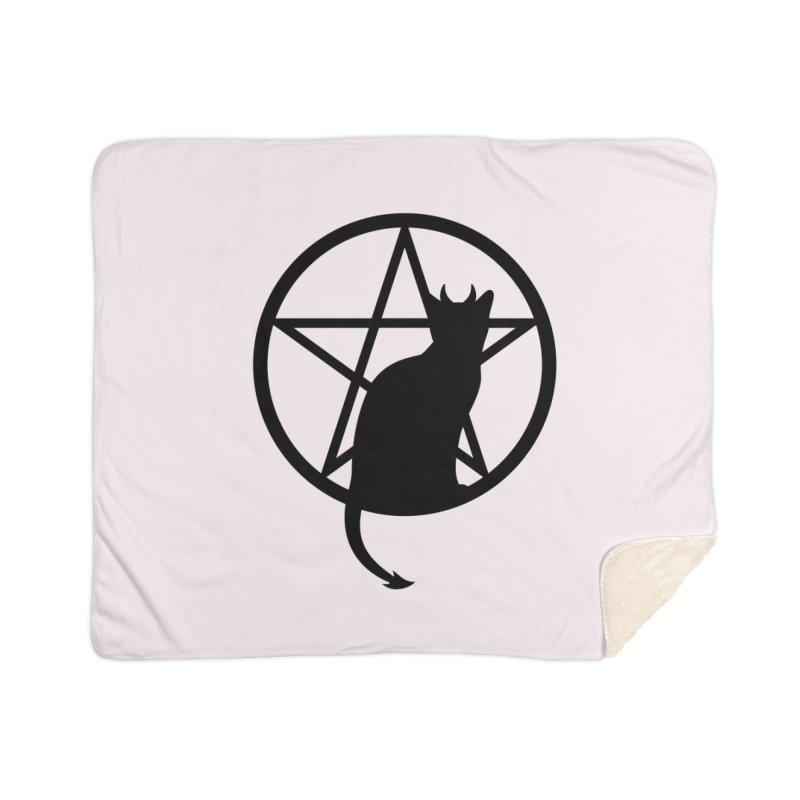Satan Cat Home Sherpa Blanket Blanket by Designs by WoollyRex