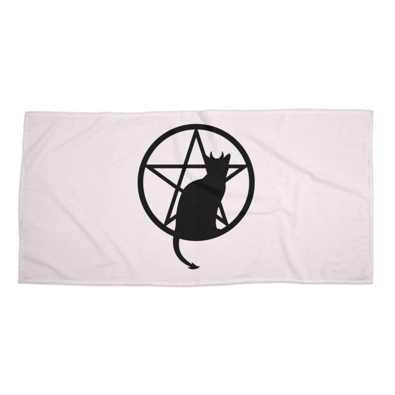 Satan Cat Accessories Beach Towel by Designs by WoollyRex