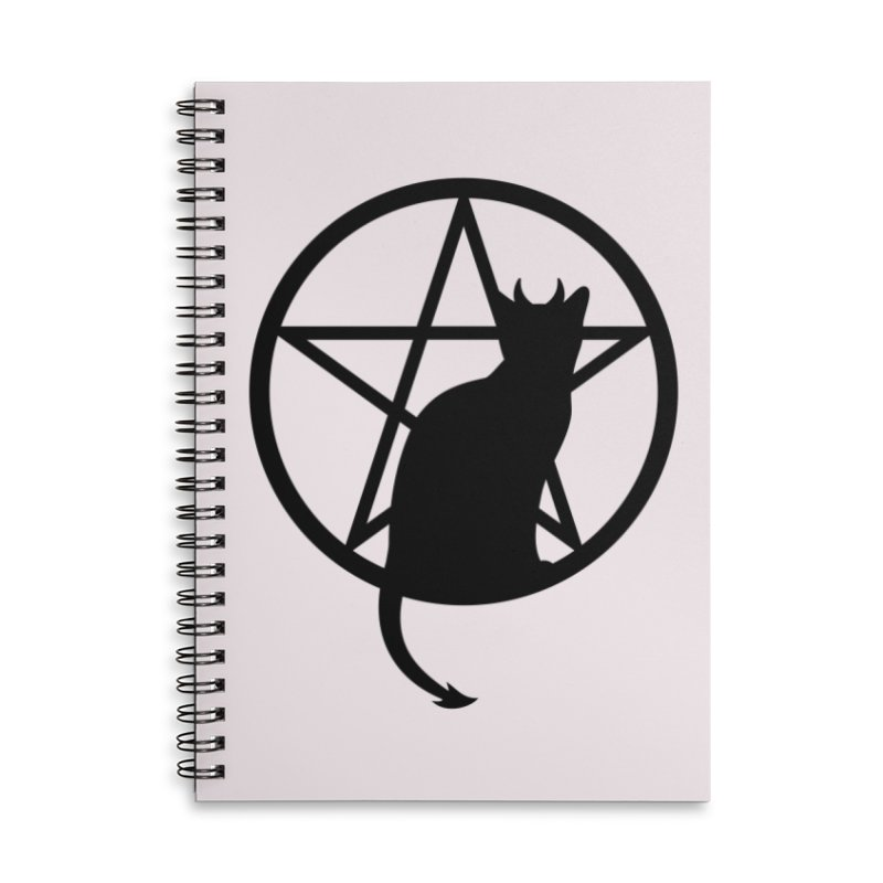 Satan Cat Accessories Lined Spiral Notebook by Designs by WoollyRex