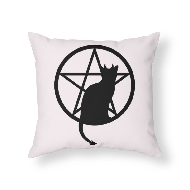 Satan Cat Home Throw Pillow by Designs by WoollyRex