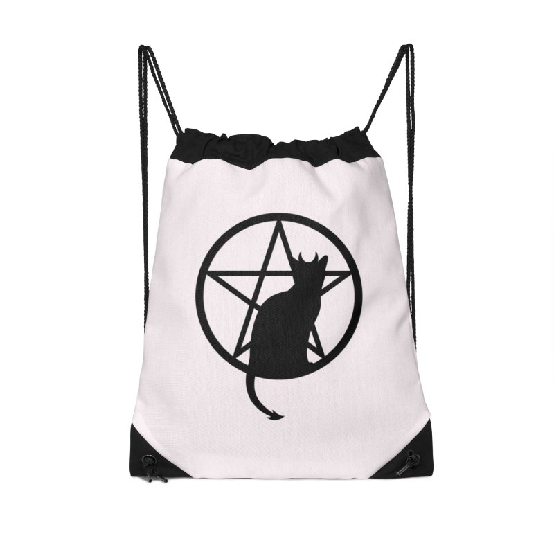 Satan Cat Accessories Drawstring Bag Bag by Designs by WoollyRex