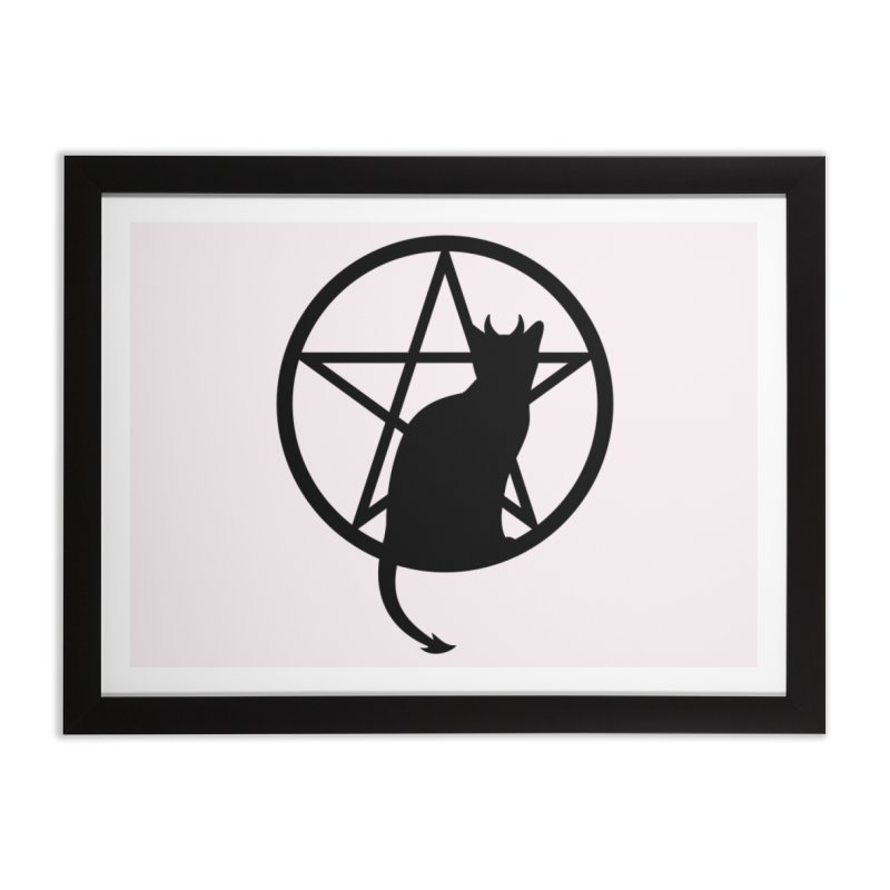 Satan Cat Home Framed Fine Art Print by Designs by WoollyRex