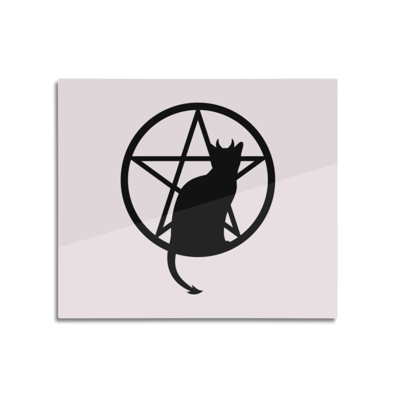 Satan Cat Home Mounted Aluminum Print by Designs by WoollyRex