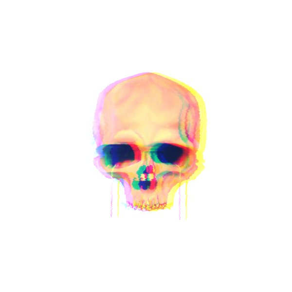 Design for Gold Toothed Glitch Skull
