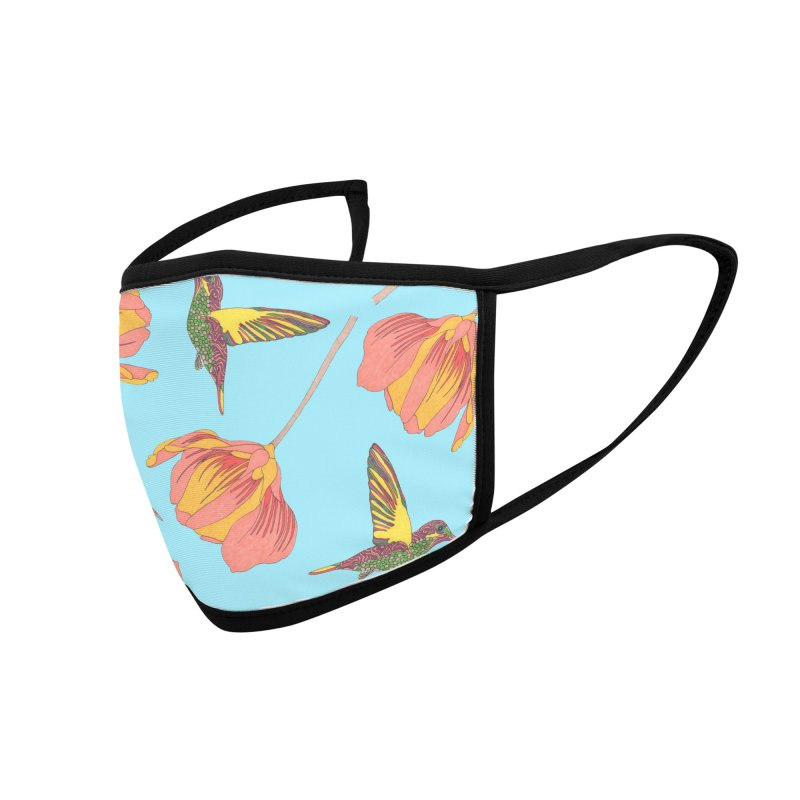Hummingbirds and Flowers Accessories Face Mask by WukashDesigns Artist Shop