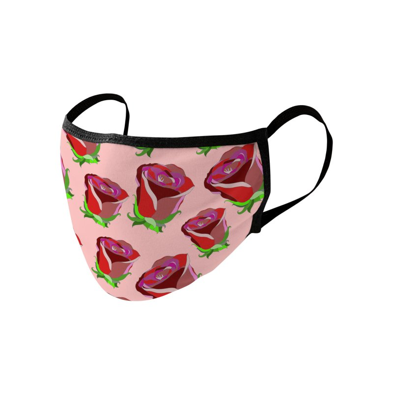 Red Pink Roses Accessories Face Mask by WukashDesigns Artist Shop