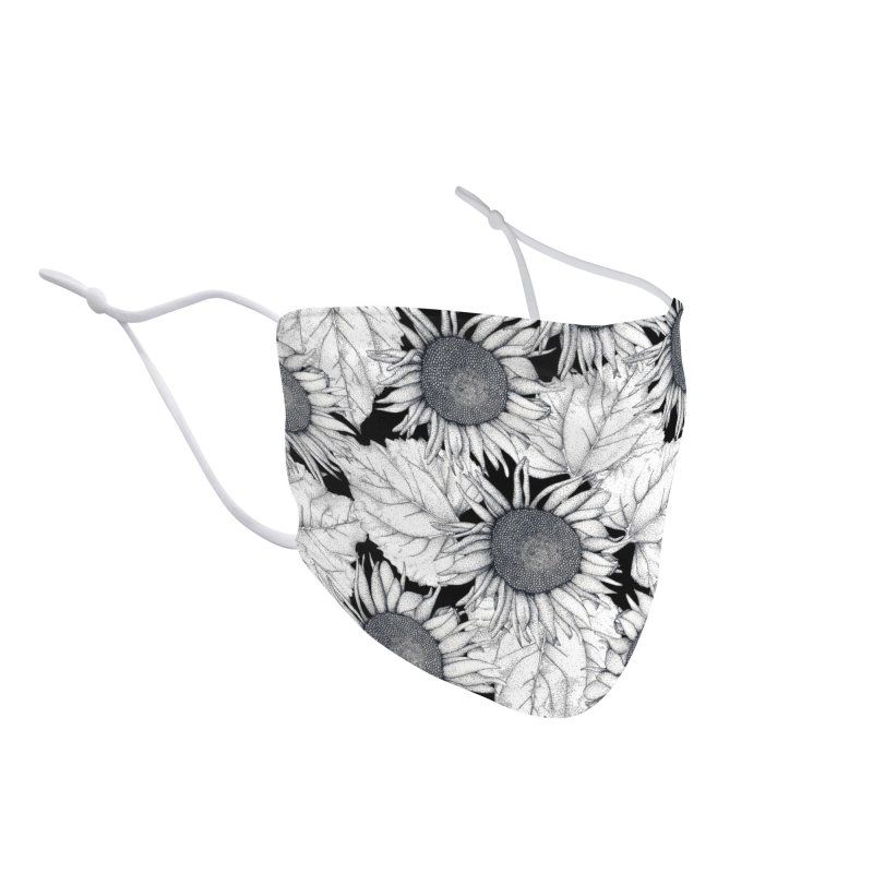 Black and White Sunflowers Accessories Face Mask by WukashDesigns Artist Shop