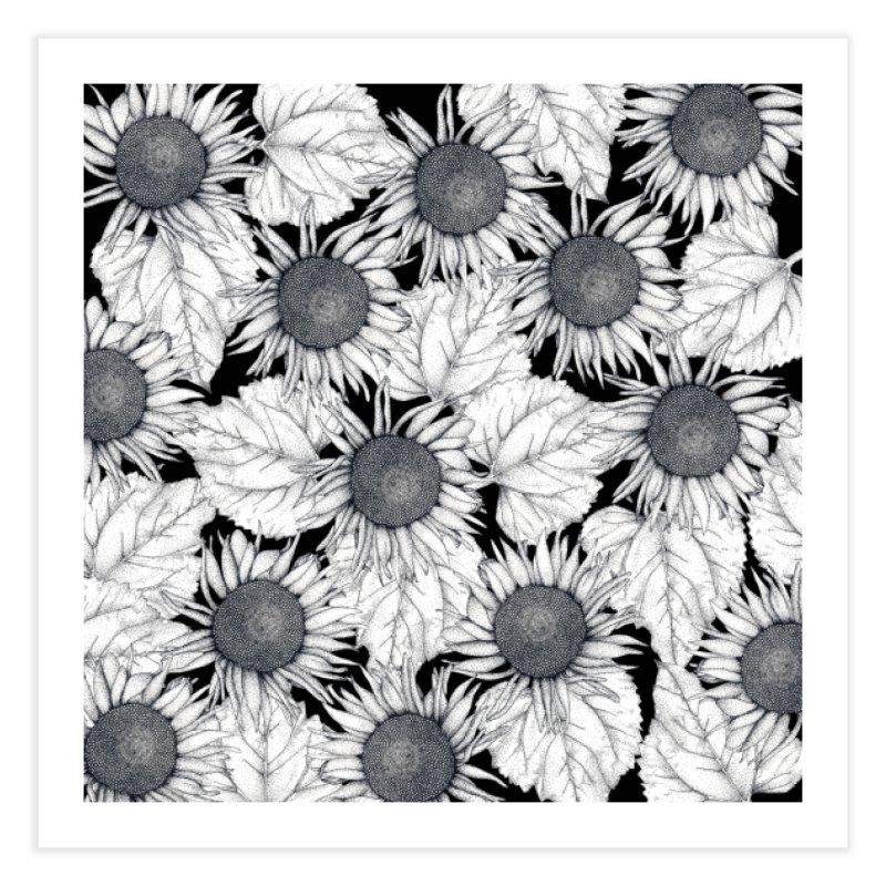 Black and White Sunflowers Home Fine Art Print by WukashDesigns Artist Shop