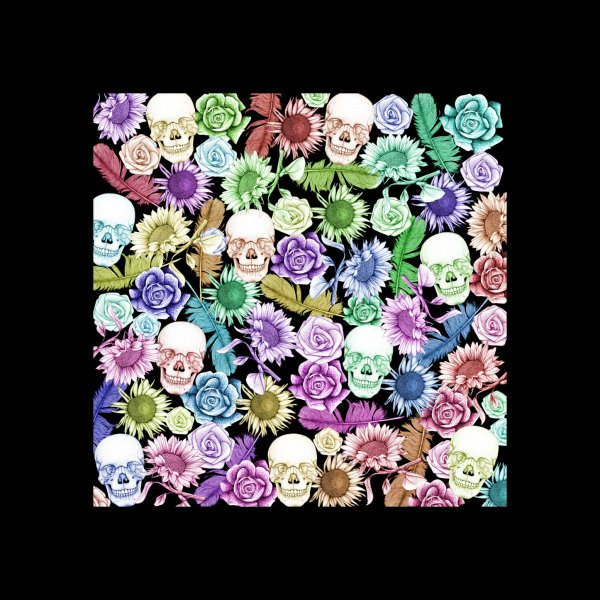 Design for Colorful Floral Skulls