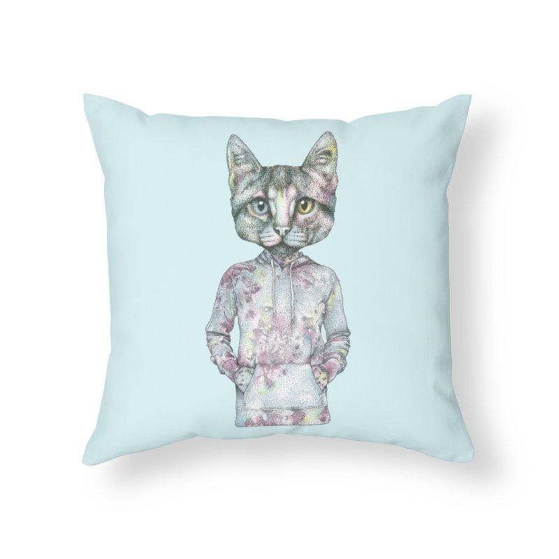 Cool Cat Home Throw Pillow by WukashDesigns Artist Shop