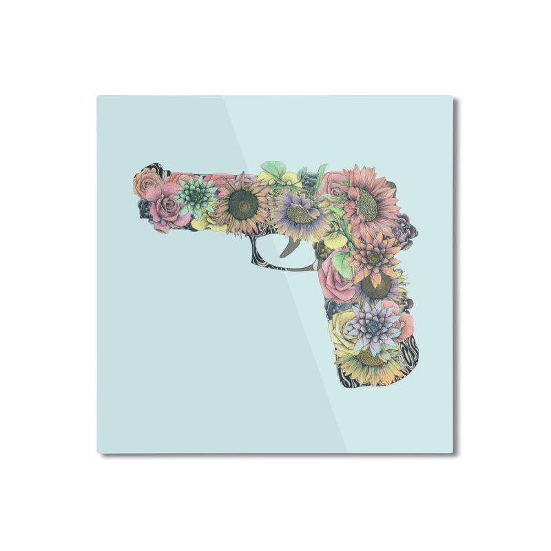 Flower Gun Home Mounted Aluminum Print by WukashDesigns Artist Shop