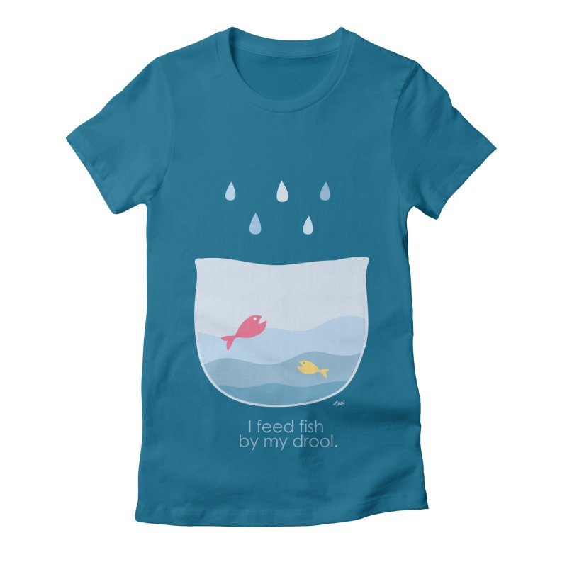 I feed fish by my drool Women's Fitted T-Shirt by YLTsai's Artist Shop