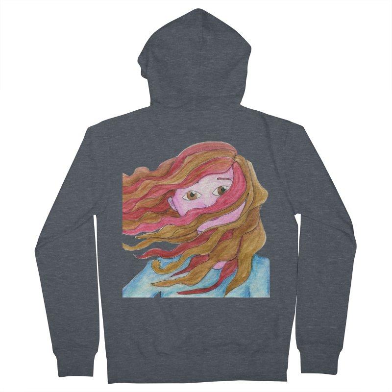 Windy hair Men's Zip-Up Hoody by Monera