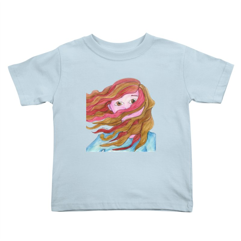 Windy hair Kids Toddler T-Shirt by Monera