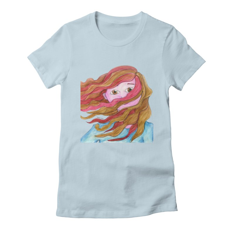 Windy hair Women's T-Shirt by Monera