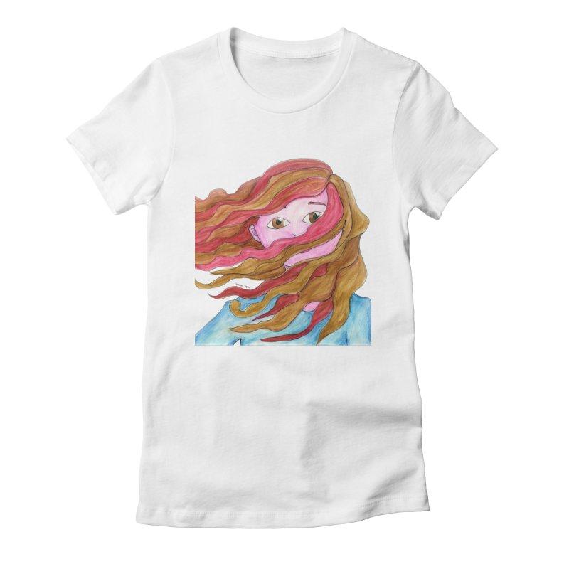 Windy hair Women's T-Shirt by Monera