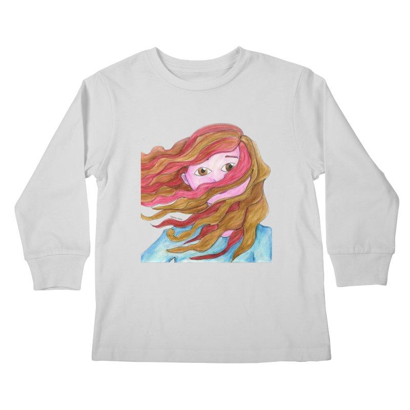 Windy hair Kids Longsleeve T-Shirt by Monera
