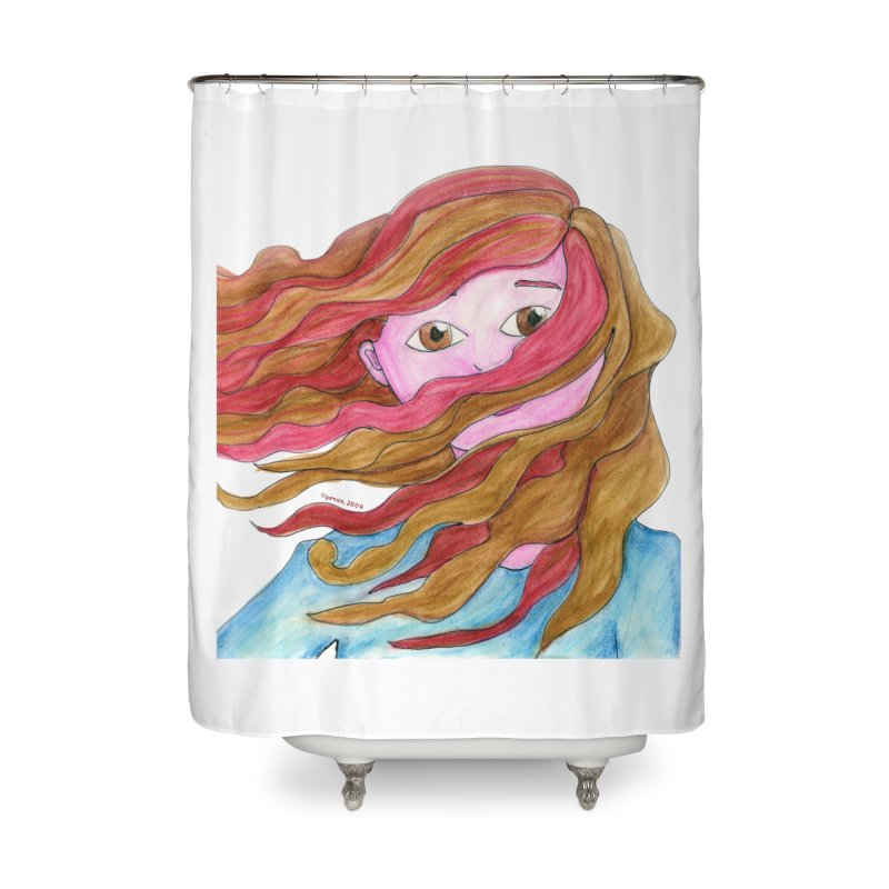 Windy hair Home Shower Curtain by Monera