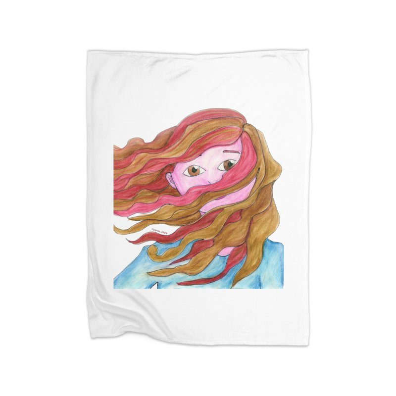 Windy hair Home Blanket by Monera
