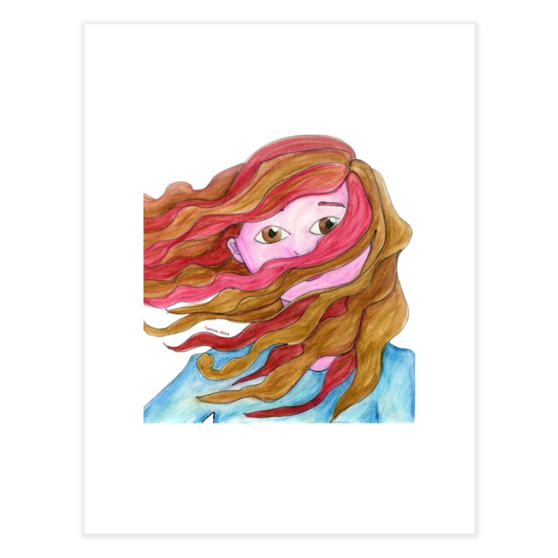 Windy hair Home Fine Art Print by Monera