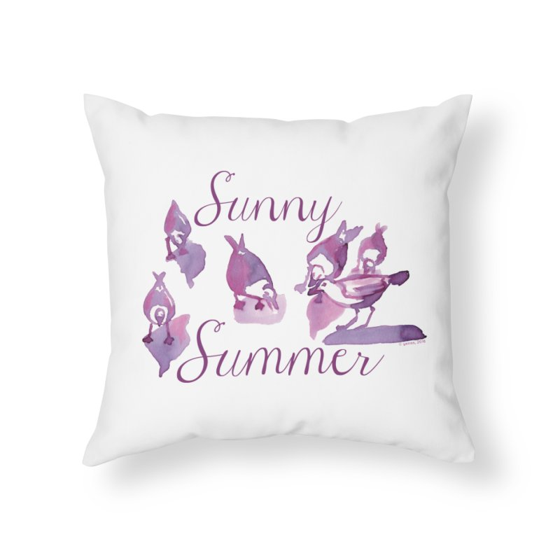 Sunny Summer Home Throw Pillow by Monera