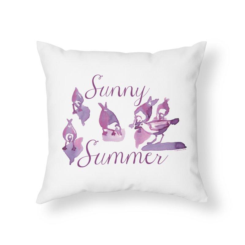 Sunny Summer Home Throw Pillow by Monera