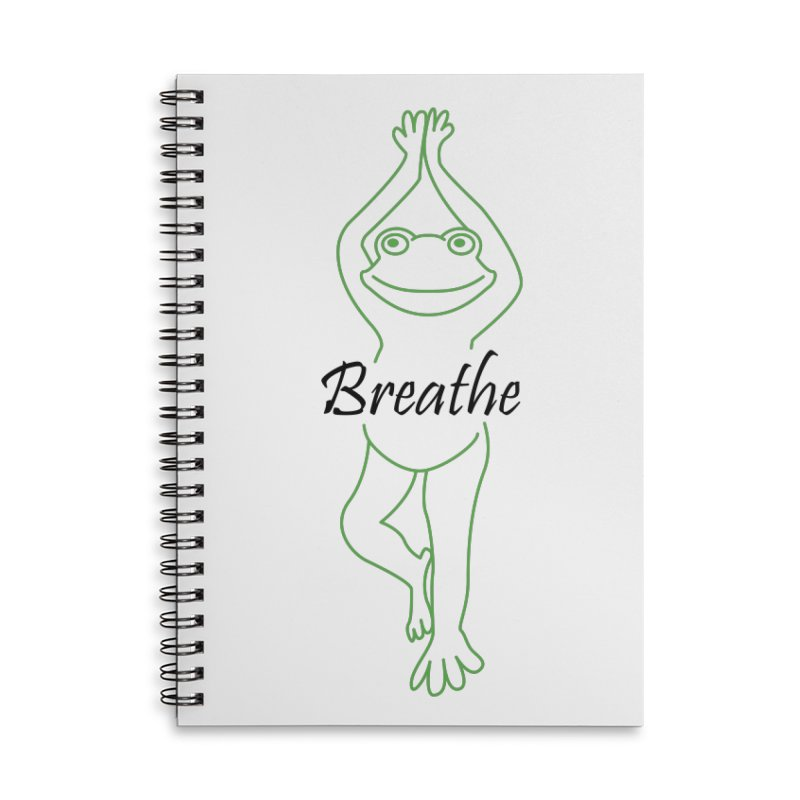 Yoga Frog Breathe Accessories Lined Spiral Notebook by Yoga Frog's Artist Shop