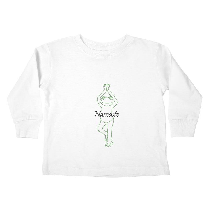 Yoga Frog Namaste Kids Toddler Longsleeve T-Shirt by Yoga Frog's Artist Shop