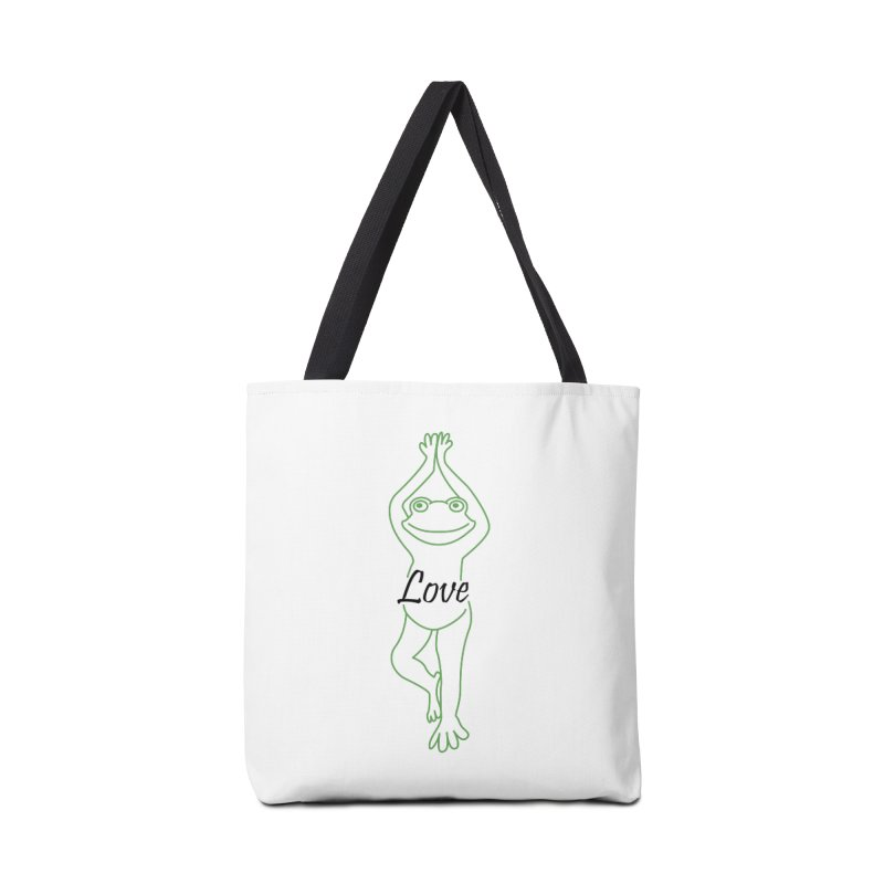 Yoga Frog Love Accessories Tote Bag Bag by Yoga Frog's Artist Shop
