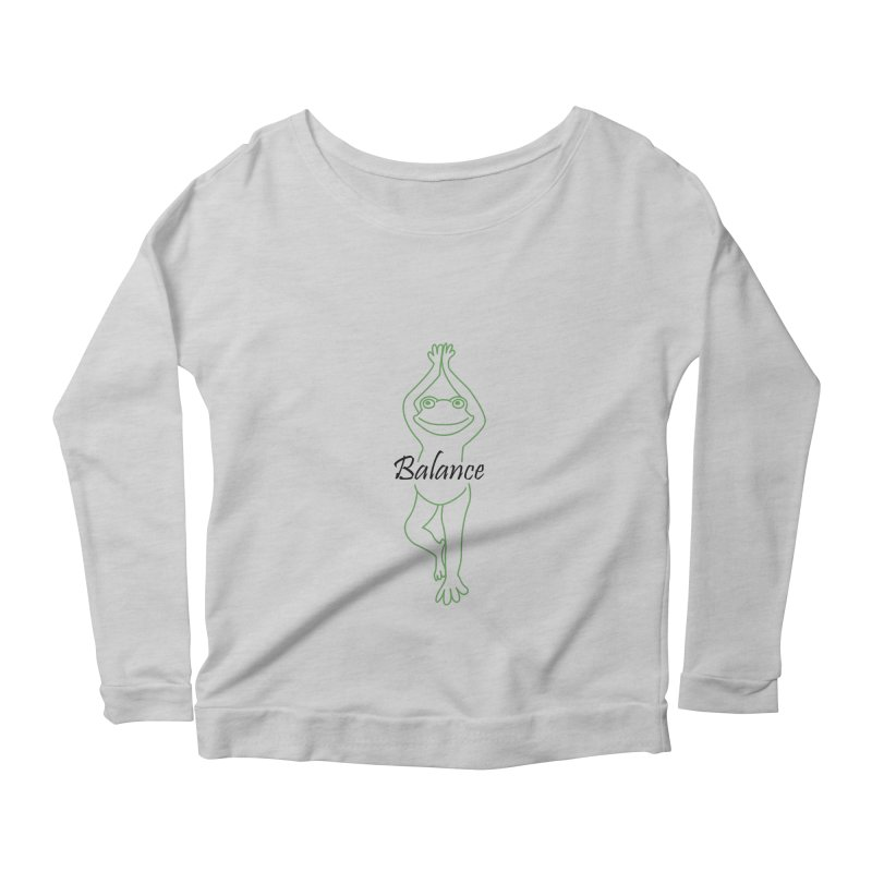 Yoga Frog Balance Women's Scoop Neck Longsleeve T-Shirt by Yoga Frog's Artist Shop