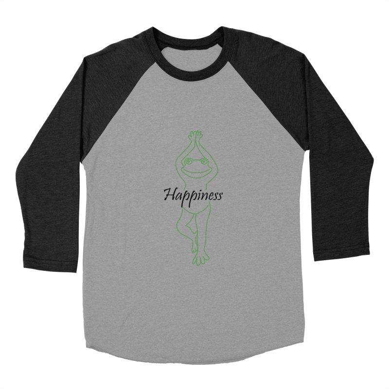 Yoga Frog Happiness Women's Baseball Triblend Longsleeve T-Shirt by Yoga Frog's Artist Shop