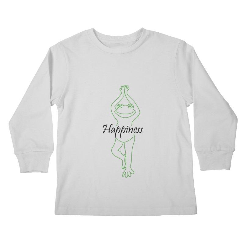 Yoga Frog Happiness Kids Longsleeve T-Shirt by Yoga Frog's Artist Shop